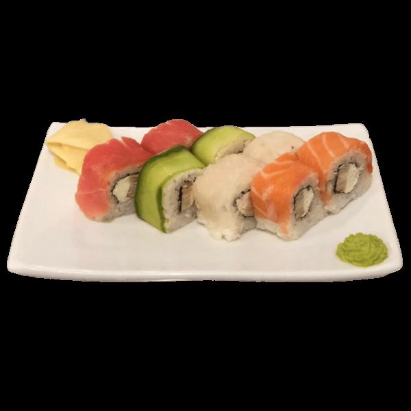 РАДУЖНЫЙ РОЛЛ (лосось, тунец, окунь, сыр сливочный, омлет, огурец)220г-min